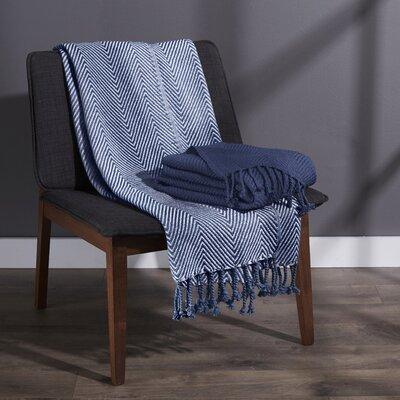 Elegancia Cotton Chevron Throw Blanket Color: Indigo