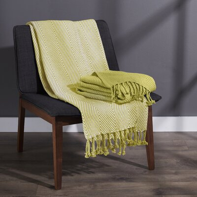 Elegancia Cotton Chevron Throw Blanket Color: Apple - Green