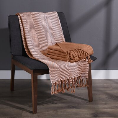 Elegancia Cotton Chevron Throw Blanket Color: Copper