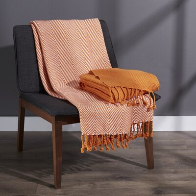 Elegancia Cotton Chevron Throw Blanket Color: Coral