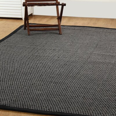 Natural Fiber Basket Weave Sisal Hand-Woven Gray/Black Area Rug