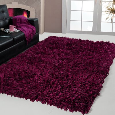 Cozy Hand-Woven Plum Red Area Rug Rug Size: 4 X 6