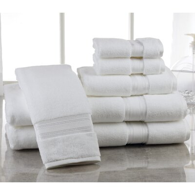 Super Absorb 100% Cotton Zero Twist 6 Piece Towel Set Color: White