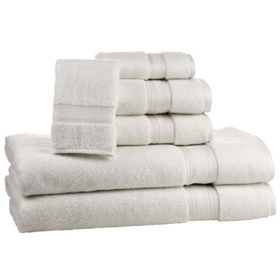Super Absorb 100% Cotton Zero Twist 6 Piece Towel Set Color: Ivory
