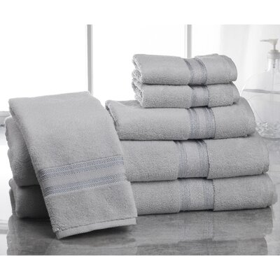 Super Absorb 100% Cotton Zero Twist 6 Piece Towel Set Color: Glacier Gray