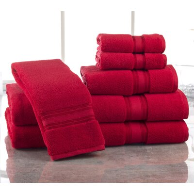 Super Absorb 100% Cotton Zero Twist 6 Piece Towel Set Color: Ruby Red