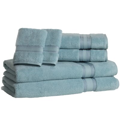 Super Absorb 100% Cotton Zero Twist 6 Piece Towel Set Color: Blue