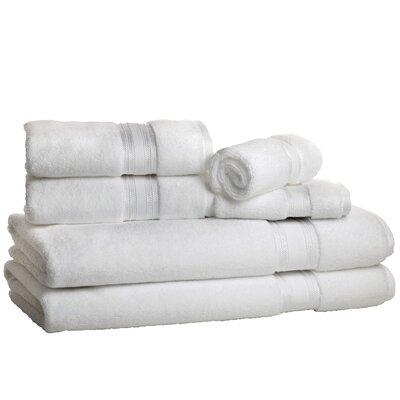 Super Absorb 100% Cotton Zero Twist 6 Piece Towel Set Color: White