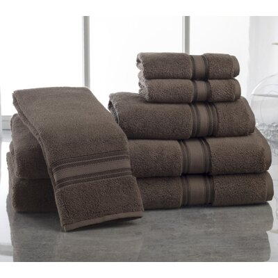 Super Absorb 100% Cotton Zero Twist 6 Piece Towel Set Color: Chocolate