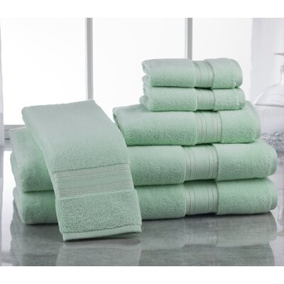 Super Absorb 100% Cotton Zero Twist 6 Piece Towel Set Color: Soft Jade