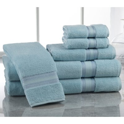 Super Absorb 100% Cotton Zero Twist 6 Piece Towel Set Color: Blue