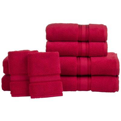 Super Absorb 100% Cotton Zero Twist 6 Piece Towel Set Color: Ruby Red