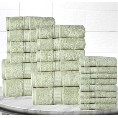 Soft and Luxurious Cotton 20 Piece Towel Set Color: Jade