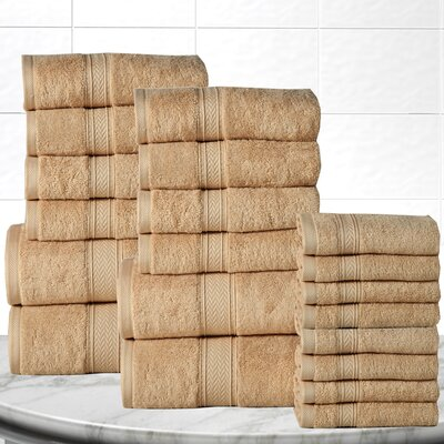Soft and Luxurious Cotton 20 Piece Towel Set Color: Beige