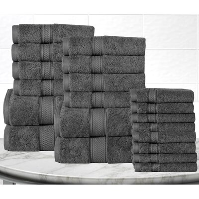 Soft and Luxurious Cotton 20 Piece Towel Set Color: Gray