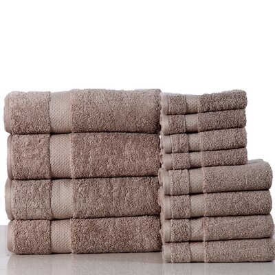 Super Absorb 100% Cotton Low Twist 12 Piece Towel Set Color: Taupe