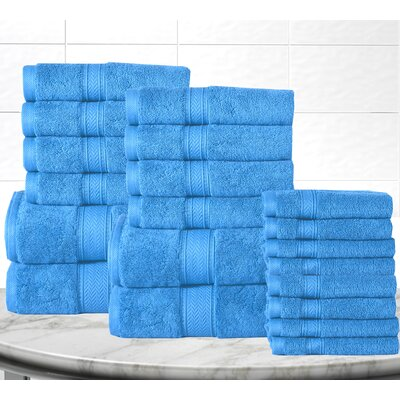 Soft and Luxurious Cotton 20 Piece Towel Set Color: Sea Blue
