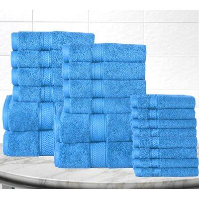 Soft and Luxurious Cotton 20 Piece Towel Set Color: Sea Blue