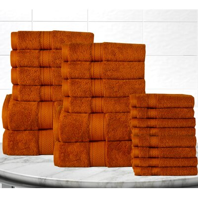 Soft and Luxurious Cotton 20 Piece Towel Set Color: Rust