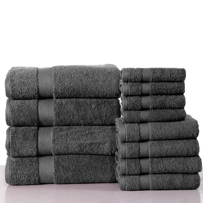 Super Absorb 100% Cotton Low Twist 12 Piece Towel Set Color: Charcoal Gray