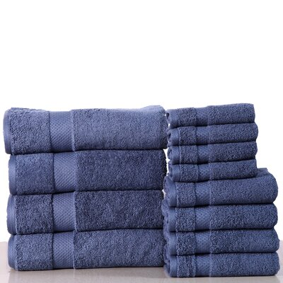 Super Absorb 100% Cotton Low Twist 12 Piece Towel Set Color: Blue Stone