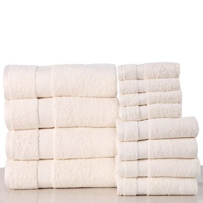 Super Absorb 100% Cotton Low Twist 12 Piece Towel Set Color: Ivory