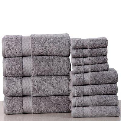 Super Absorb 100% Cotton Low Twist 12 Piece Towel Set Color: Silver Gray