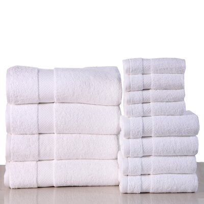 Super Absorb 100% Cotton Low Twist 12 Piece Towel Set Color: White
