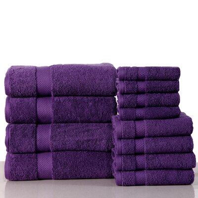 Super Absorb 100% Cotton Low Twist 12 Piece Towel Set Color: Royal Purple
