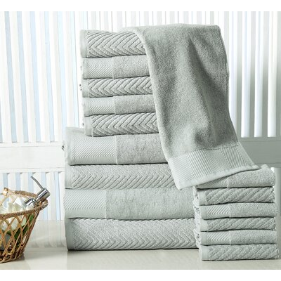 16 Piece Towel Set Color: Jade