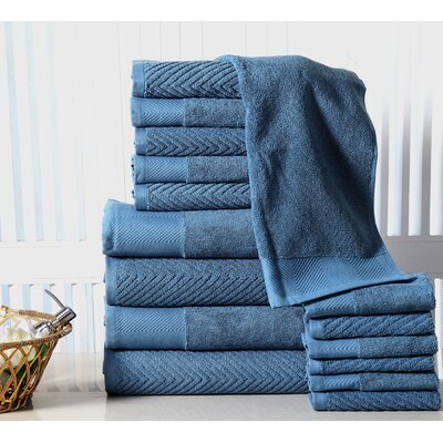 Grenville 16 Piece Towel Set Color: Blue Stone