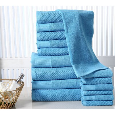 16 Piece Towel Set Color: Sea Blue