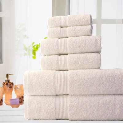 100% Cotton 6 Piece Bath Towel Set Color: Ivory