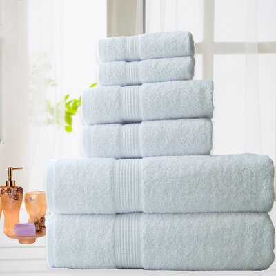 100% Cotton 6 Piece Bath Towel Set Color: White