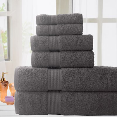 100% Cotton 6 Piece Bath Towel Set Color: Grey