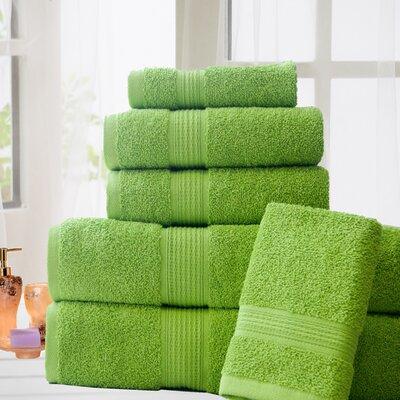 Stonington 100% Cotton 6 Piece Bath Towel Set Color: Lime Green