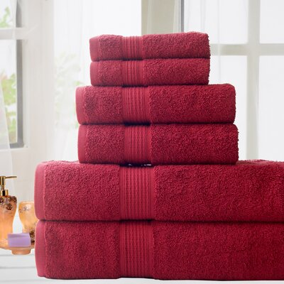 100% Cotton 6 Piece Bath Towel Set Color: Red