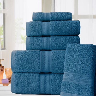 100% Cotton 6 Piece Bath Towel Set Color: Denim