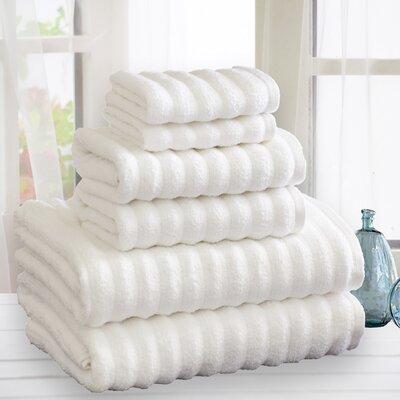 Quick Dry Cotton 6 Piece Towel Set Color: White