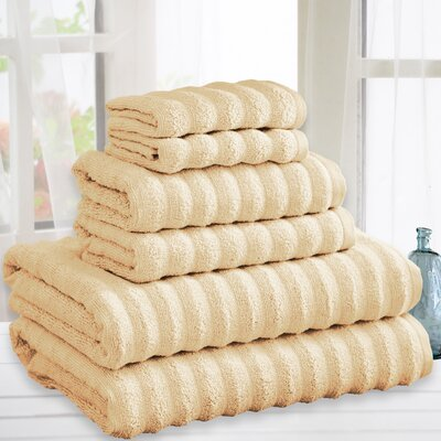 Quick Dry Cotton 6 Piece Towel Set Color: Beige