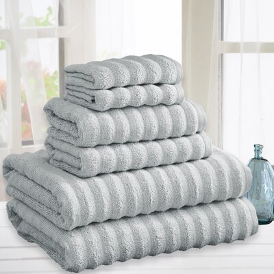 Quick Dry Cotton 6 Piece Towel Set Color: Silver
