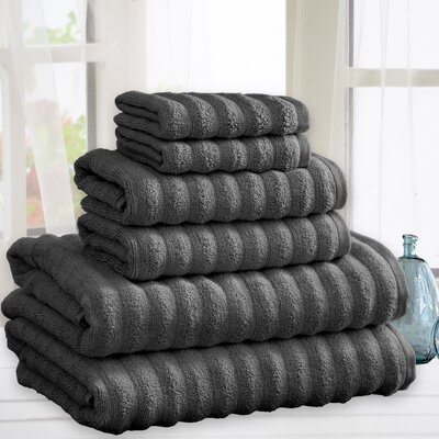 Zechariah Quick Dry Cotton 6 Piece Towel Set Color: Gray