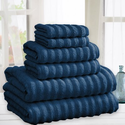 Zechariah Quick Dry Cotton 6 Piece Towel Set Color: Denim