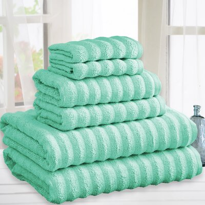 Quick Dry Cotton 6 Piece Towel Set Color: Aqua