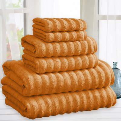 Quick Dry Cotton 6 Piece Towel Set Color: Rust