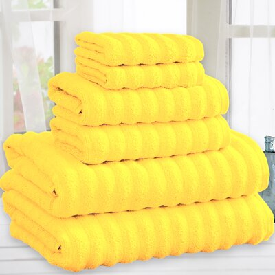 Quick Dry Cotton 6 Piece Towel Set Color: Yellow