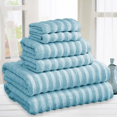 Quick Dry Cotton 6 Piece Towel Set Color: Blue
