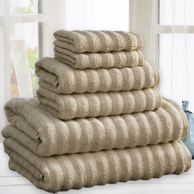 Zechariah Quick Dry Cotton 6 Piece Towel Set Color: Taupe