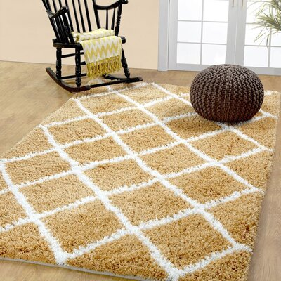 Hand-Woven Beige Area Rug Rug Size: Rectangle 5 x 8