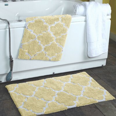 2 Piece Moroccan Trellis Bath Rug Set Color: Cream